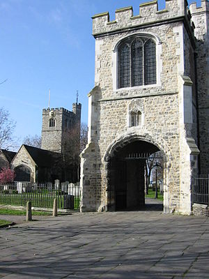 Barking Abbey - Barking Abbey: curfew tower with St Margaret's church in background