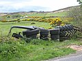Barrier of tyres at Mullaghattin - geograph.org.uk - 446743.jpg