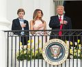 Barron, Melania, and Donald Trump at 2017 Easter egg roll (33573170283) (cropped).jpg