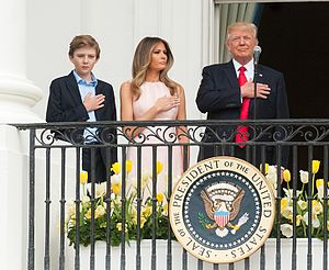 First Family of the United States - Image: Barron, Melania, and Donald Trump at 2017 Easter egg roll (33573170283) (cropped)