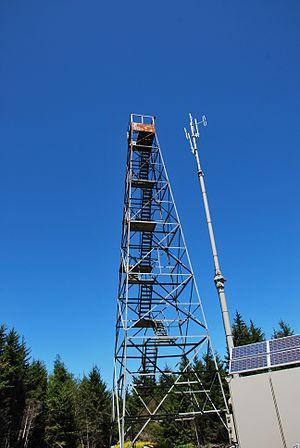 Barton Knob - Photo of fire tower and radio repeater on Barton Knob.