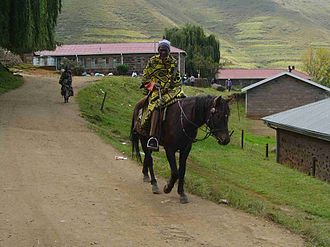 Transport in Lesotho - Horse riding.