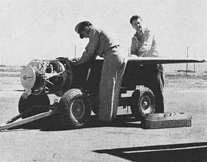 ASM-N-2 Bat - A Bat weapon on a bomb cart, with its nose radome removed