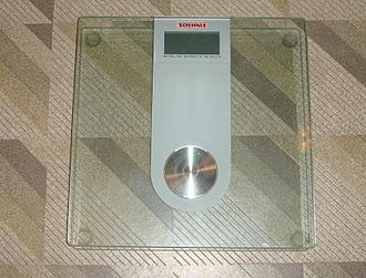 Mass versus weight - Load-cell based bathroom scale: Affected by the strength of gravity.