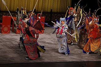 Zhao Yun - Zhao Yun (center) surrounded by Cao Cao's generals in the Battle of Changban, from a 2015 Peking opera performance by Shanghai Jingju Theatre Company at Tianchan Theatre, Shanghai.