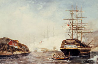 Battle of Lyngør - Artist's rendition of the Battle of Lyngør
