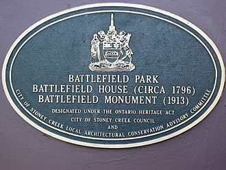 Battle of Stoney Creek - A civic marker affixed to Battlefield House