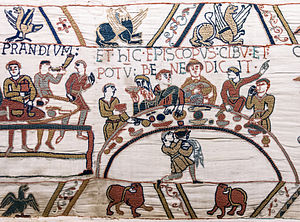 Regional cuisines of medieval Europe - The feast of William the Conqueror, detail from the Bayeux Tapestry, late 11th century.