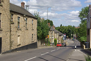 Beighton ward, Sheffield - Looking down High Street of Beighton as it falls quite steeply from the area around the church into the bottom of the Rother Valley.