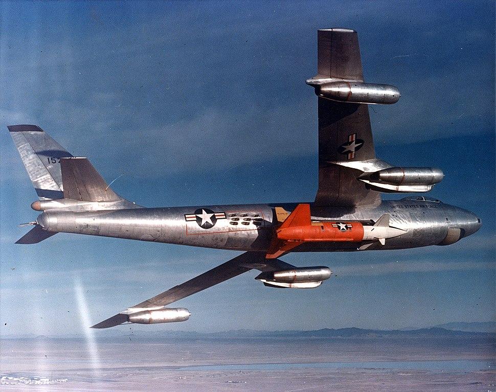Bell XGAM-63 Rascal being carried by a DB-47B (modified B-47B) bomber