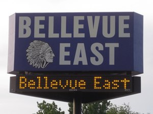 Bellevue East High School - Image: Bellevue east high school sign