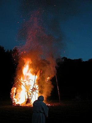 Beltane - A Beltane bonfire at Butser Ancient Farm