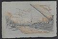 Bercy - Paris (bord de Seine avec chalands à l'ancre en cours de chargement, soleil couchant) 1877 drawing by Jean-François Taelemans, R-2009-26325, Prints Department, Royal Library of Belgium.jpg