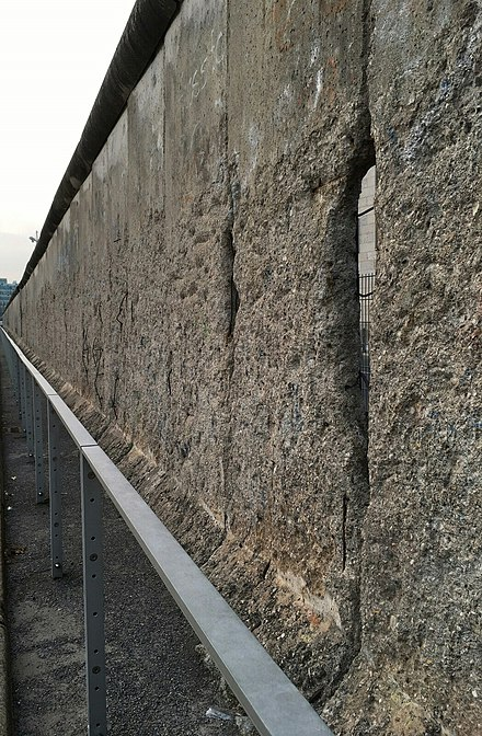 Remains of the Berlin wall, still in its original spot, 2016 Berlin wall holes.jpg