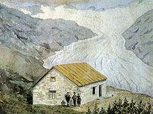 Gemälde der Berliner Hütte, im Hintergrund der Gletscher