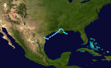 Track of a disorganized tropical storm tracking across Louisiana and Texas.