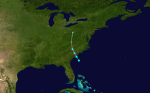 Track of the storm's path on a map
