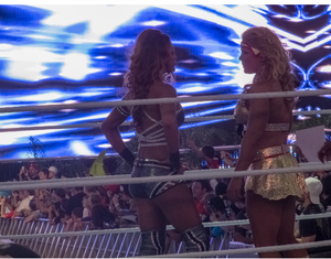 Eve Torres - Torres (left) with Beth Phoenix at Wrestlemania XXVIII in April 2012