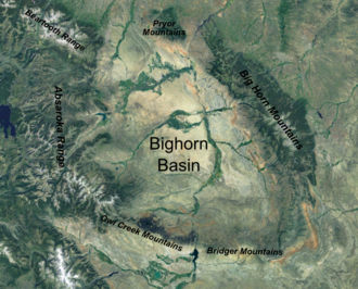 Bighorn Basin - Satellite image of the Bighorn Basin in Wyoming, with the bordering ranges labelled