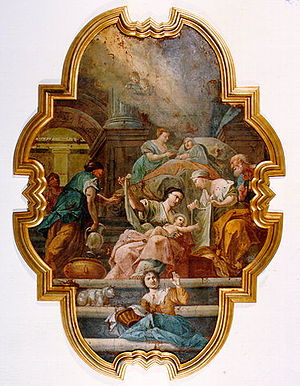 Heptanese School (painting) - Birth of Virgin Mary by Nikolaos Doxaras.