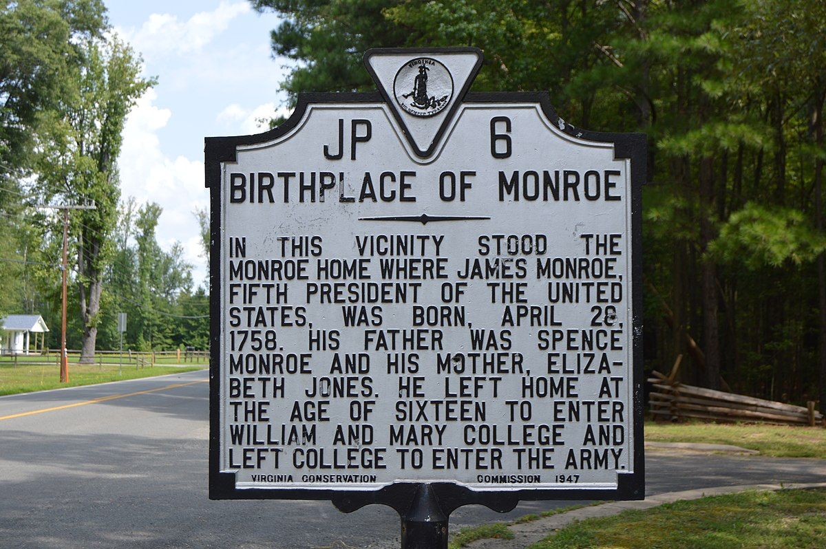Birthplace of Monroe historical marker.jpg