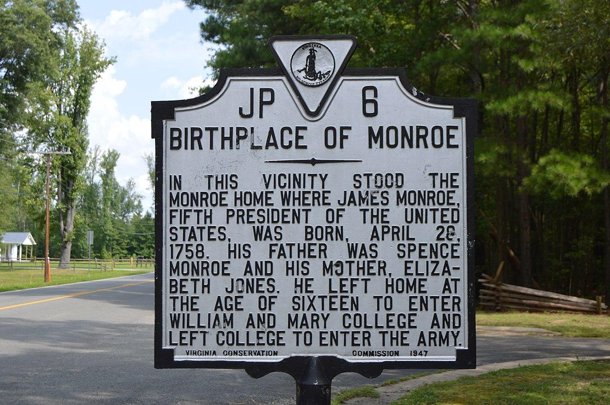 Birthplace of Monroe historical marker.jpg
