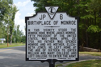 James Monroe - Marker designating the site of James Monroe's birthplace in Monroe Hall, Virginia