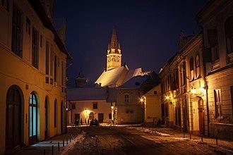 Mediaș - St. Margaret Evangelical Church in the historical city centre
