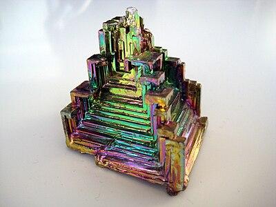 Bismuth crystal pyramid