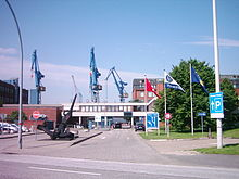 Blohm + Voss shipyard entrance