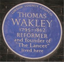 Commemorative plaque outside Wakley's former residence in Bedford Square, London Blue plaque Thomas Wakley.jpg