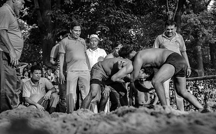 "Boli Khela is a local traditional wrestling game played between two ""Boli"" (wrestler). Boli Khela, Pohela Boishakh (2014) (19204242768).jpg"