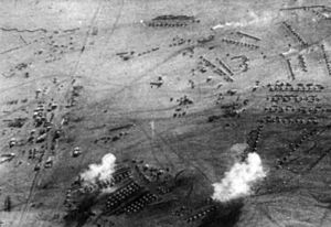 South West Africa campaign - December 1914: German air raid on an Allied camp at the railway station of Tschaukaib.