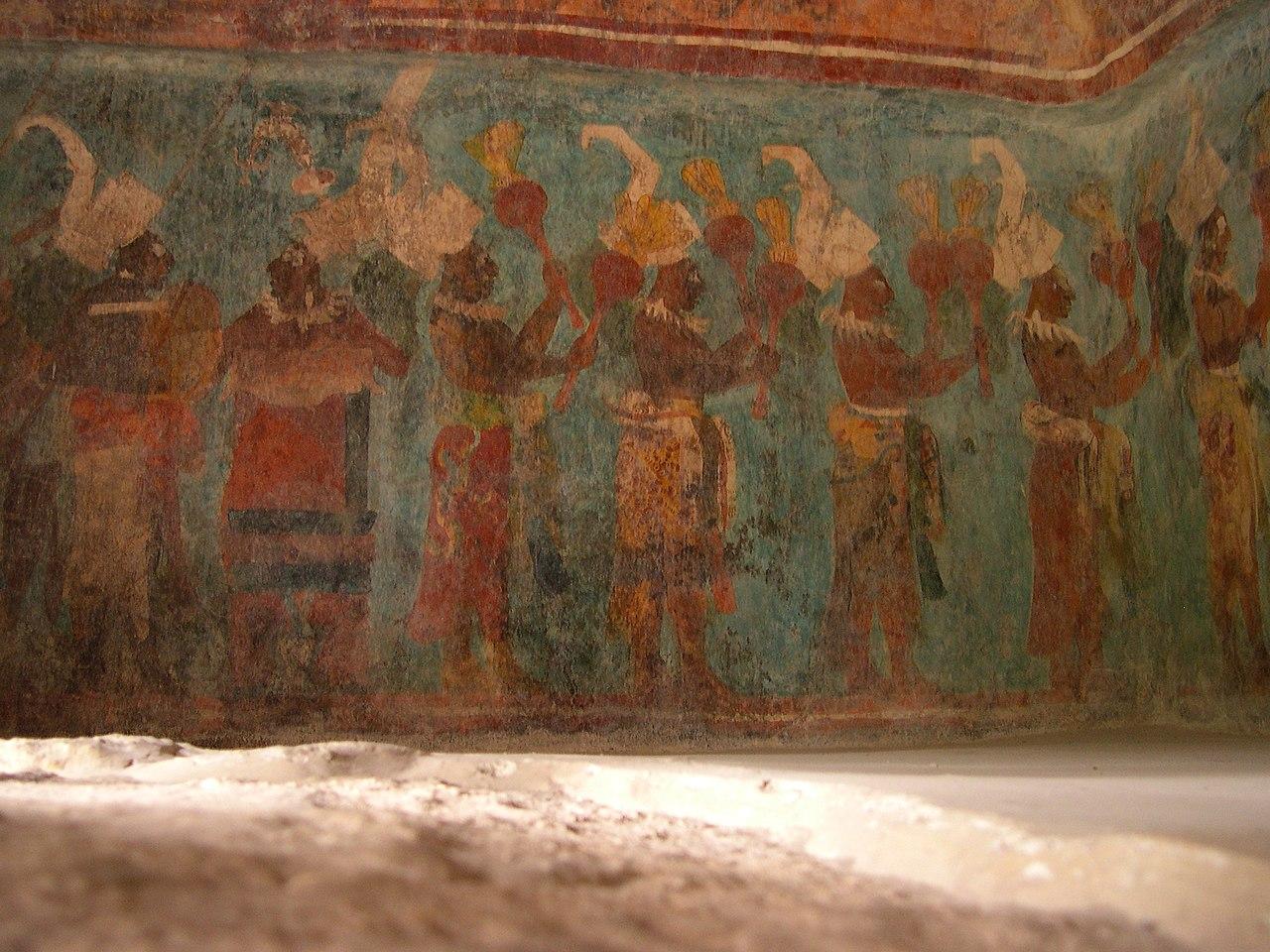 Mayan mural with Maya blue color in Bonampak archeological site
