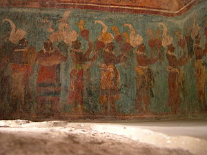 Bonampak - Musicians on lower register of the east wall of Room 1.