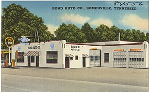 Lion Oil - Lion Oil and Ford dealer, Somerville, Tennessee. Circa 1930-1945
