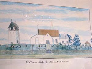 St. Clement's Church, Bornholm - Painting of the former church