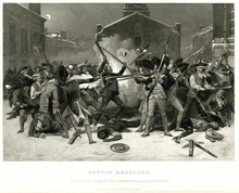 Depiction of chaotic confrontation between British soldiers and Bostonians