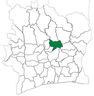 Bouaké Department - Bouaké Department from 1988 to 2008. (Other subdivision boundaries began to change in 1995.)