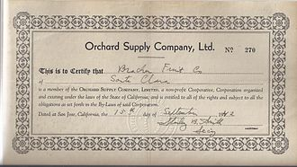 Orchard Supply Hardware - Co-op member certificate from 1942 signed by founder Stanley B. Smith