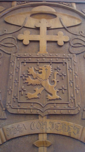 "Personal Apostolic Administration of Saint John Mary Vianney - Coat of Mayer, carved in a wooden door in the Church of ""Our Lady of Aparecida and St. Fidelis"", belonging to the Apostolic Administration."