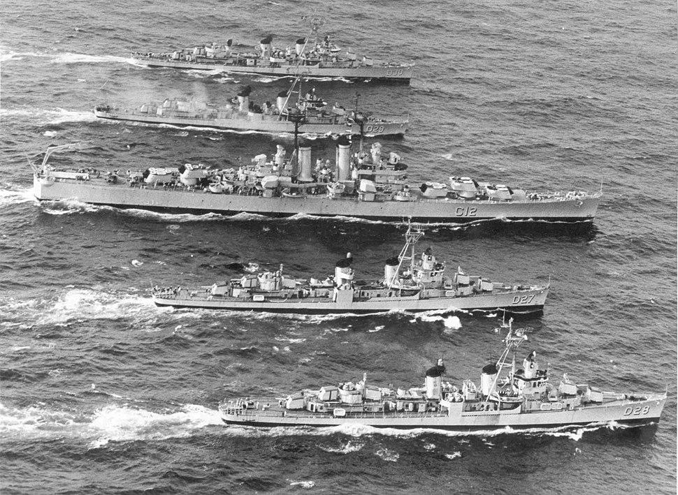 Brazilian cruiser Tamandaré (C12) underway with destroyers during the 1961 Lobster War