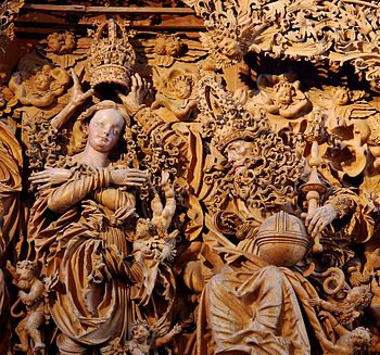 Breisach Minster high altar detail (Mary's coronation and God the Father)