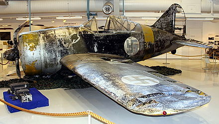 Lauri Pekuri's FAF BW-372 at the Aviation Museum of Central Finland Brewster B-239 (BW-372) K-SIM 02.jpg