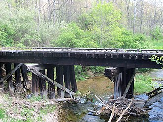 Short Creek Township, Harrison County, Ohio - This old bridge across South Branch Short Creek next to U.S. Route 250 led to the Georgetown Mine