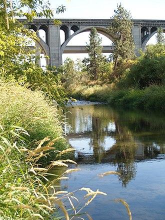 Latah Creek - Sunset Highway and I-90 Crossing Latah Creek in Spokane.