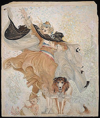 Nell Brinkley - Golden Eyes with Uncle Sam by Nell Brinkley, c. 1918.