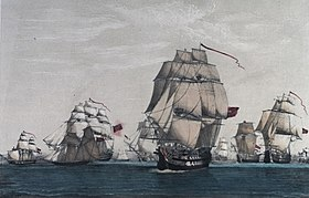 The British convoy of sixty-three ships and all but eight ships captured by the fleet under Luis de Cordova. Aquarelle, fin du XVIIIe siècle. National Maritime Museum.