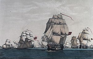 Action of 9 August 1780 - The British convoy of 63 ships with all but 8 ships captured by the fleet under Luis de Cordova. Watercolour, late 18th century, National Maritime Museum.
