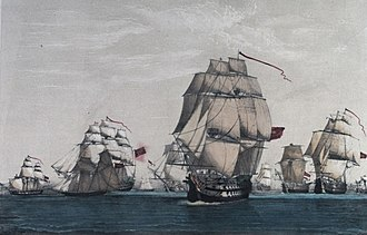 Action of 9 August 1780 - Image: British convoy of sixty three ships and all but eight ships captured by Spanish and French under Cordova